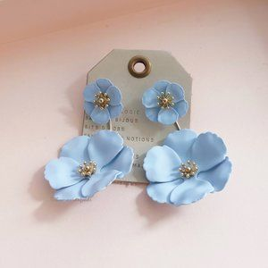 Anthropologie Floral Front Back Earrings